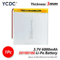 1/2/4 Pcs Rechargeable 3.7V 30100100 6000mAh Li-polymer Lithium Polymer Battery Replacement For E-book Tablet Laptop E-book