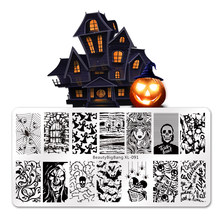 BEAUTYBIGBANG 6*12CM Halloween Theme Stamp Templates Skull Spider Nail Stamping Plates Image Manicure Printing Stencil Tools(China)