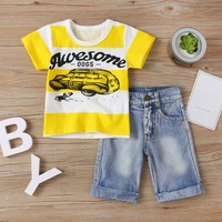 WEIXINBUY Boys Clothing Sets Suit Kids Summer Alphabet Plaid Shirt Suit Gentleman Style Shirt + Pants 2 Pieces Clothes For Boys