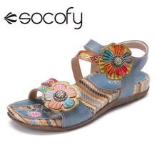 SOCOFY Retro Leather Women Sandals Knitting Ethnic Style Met