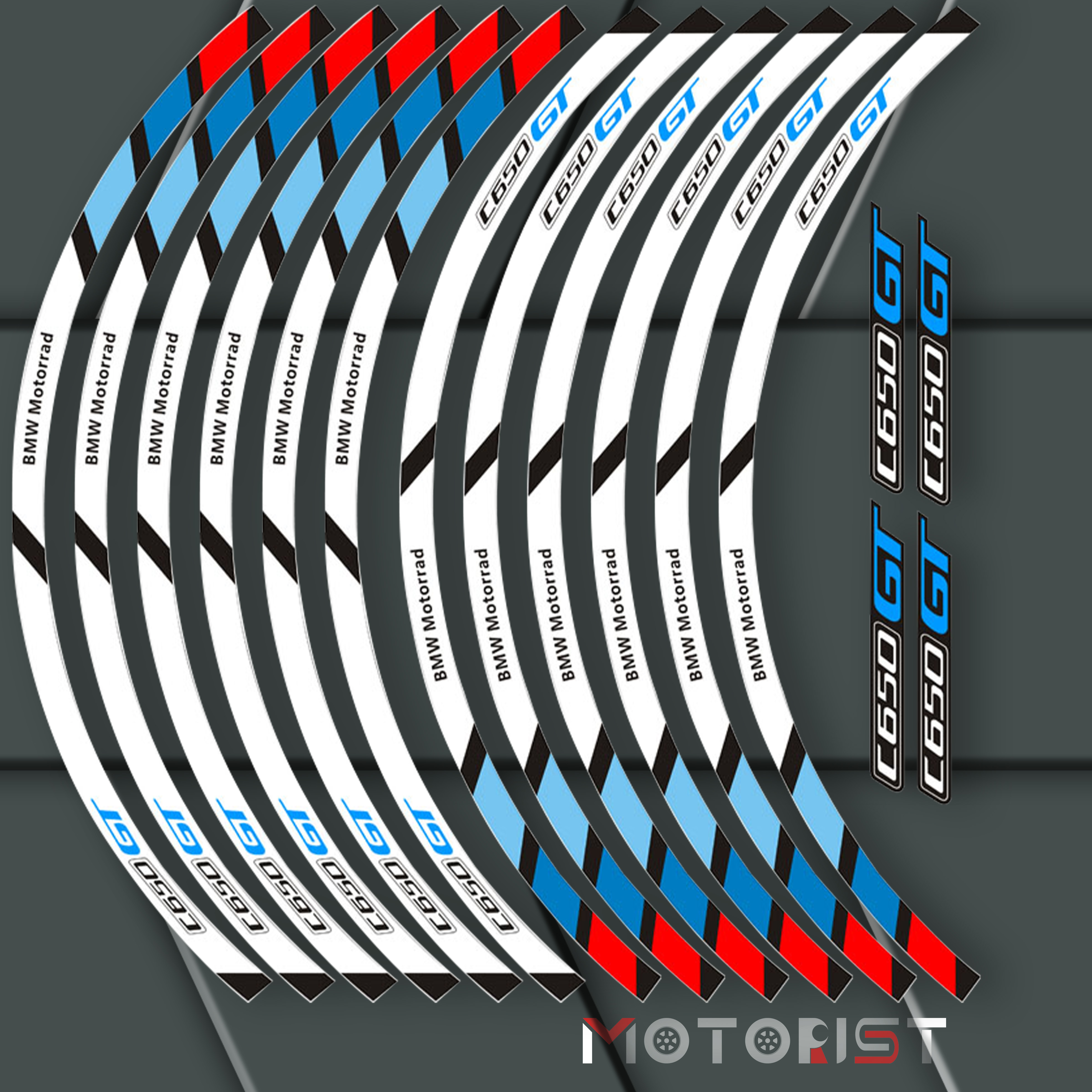MOTORIST Motorcycle Front And Rear Wheels Edge Outer Rim Sticker Reflective Stripe Wheel Decals For BMW C650GT