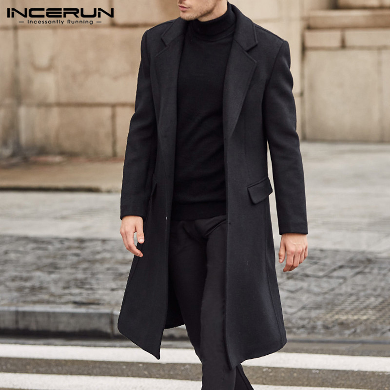 INCERUN Winter Fashion Men Coats Wool Jackets Plain Long Sleeve Warm Faux Fleece Trench Coats Men Long Overcoat Streetwear 2019