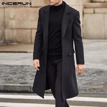 INCERUN Winter Fashion Men Coats Wool Jackets Plain Long Sleeve Warm Faux Fleece