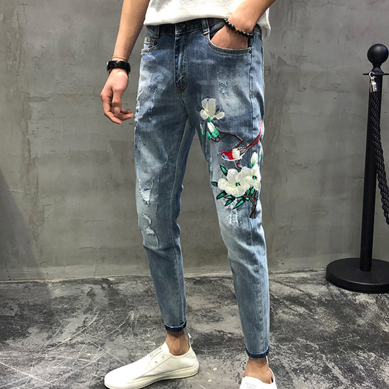 Heavy Industry Embroidery Jeans Men's Brand Korean Slim Ripped Hole Social Guy Feet Ankle Length Pants Printed Teenagers Jeans