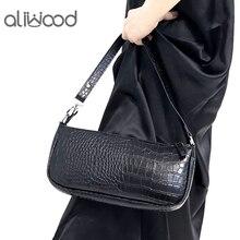 aliwood Brand Simple Alligator Crocodile Leather Women Shoulder bags Large Capacity Vintage Wild Armpit Bag Baguette Bag Handbag