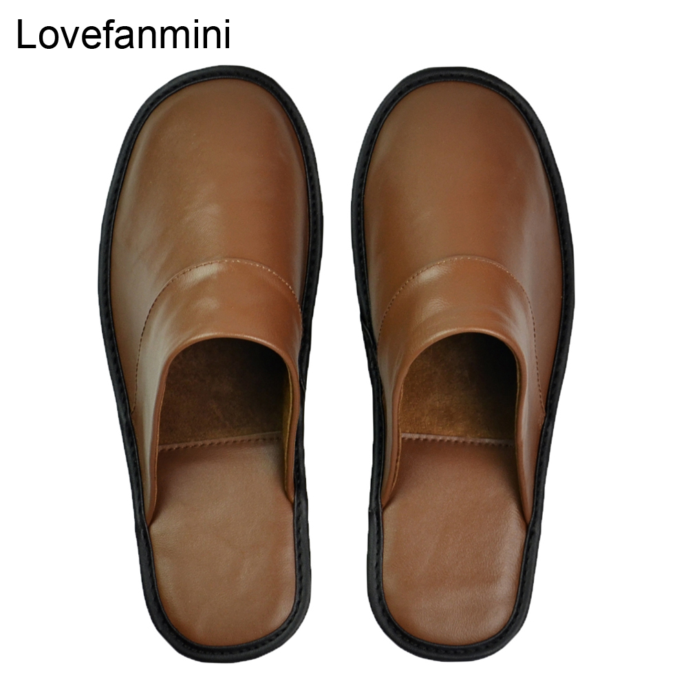 Image 2 - Genuine Sheepskin Leather slippers couple indoor non slip men women home fashion casual single shoes PVCsoft soles spring summerSlippers   -