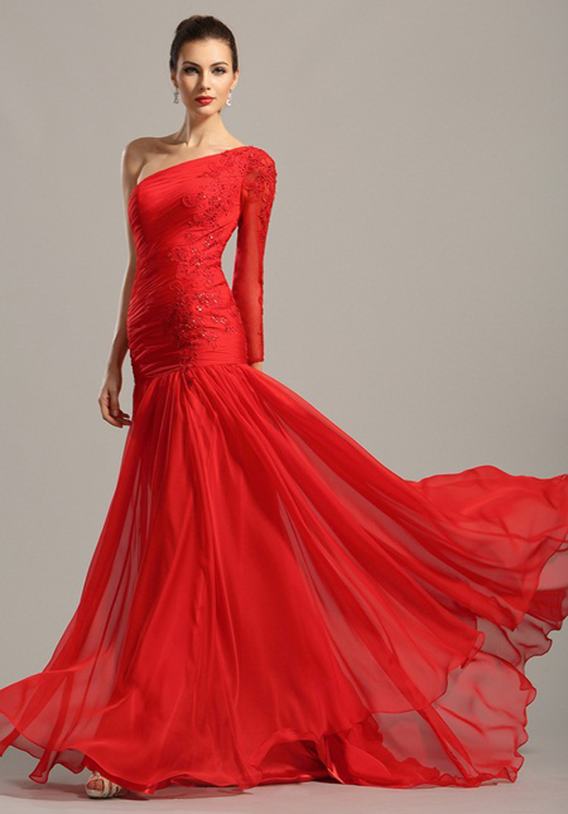 Red Chiffon Long Prom Scoop Vestidos De Baile Sheer Top Party Gown Lace Graduation Sexy One Shoulder Mother Of The Bride Dress