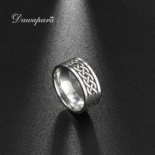 Dawapara celtics viking ornamento anel de aço inoxidável irlandês jóias vintage punk anel para homem feminino
