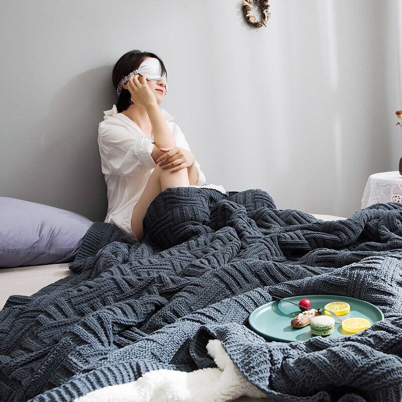 Скандинавское модное женское кашемировое Двухслойное одеяло для офиса, вязаное зимнее теплое одеяло для кровати, дивана