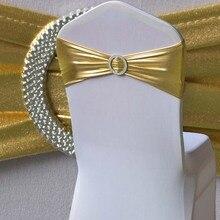 WedFavor 100 шт бронзовые эластичные ленты для стула с бантом цвета металлик, золото, лайкра, спандекс, ленты для стула с круглой пряжкой для свадьбы
