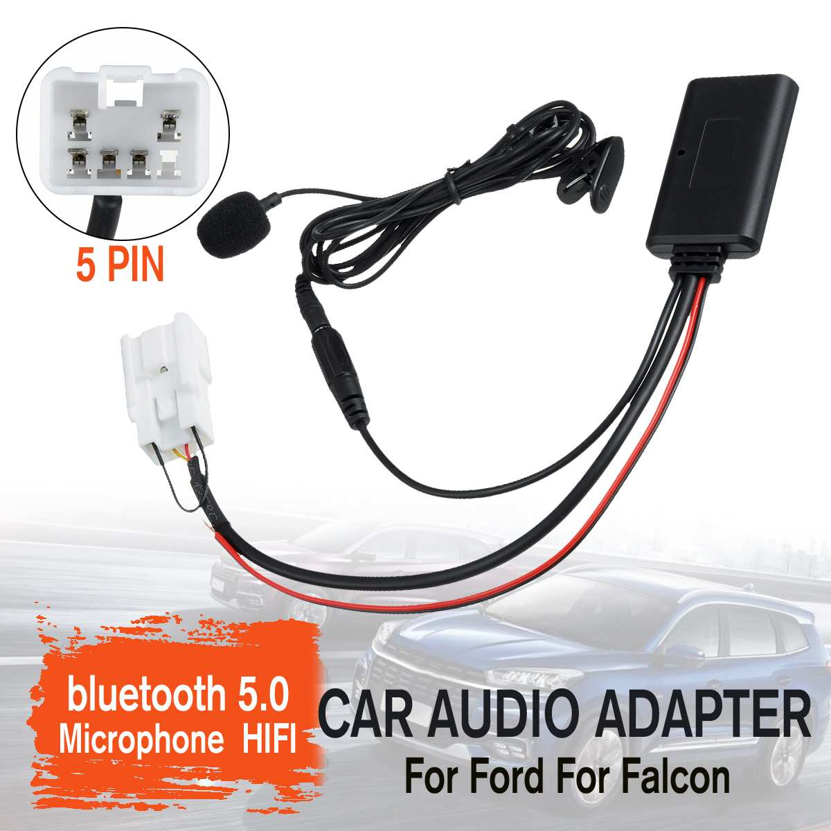 Car HIFI Wireless 5pin Stereo Radio Aux In MP3 Cable Music Player Adaptor MIC For Ford For Falcon|Bluetooth Car Kit| |  - title=