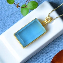 Top Quality Natural Blue Ice Aquamarine Pendant Clear Rectangle Women 14K Gold 2