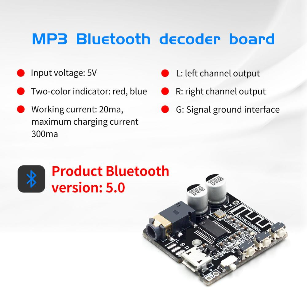 VHM-314 V.20 Bluetooth Audio Receiver Board Bluetooth 5.0 Mp3 Lossless Decoder Board With Lithium Battery Charging