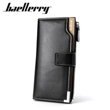 Baellerry Brand Men Wallets Long Style High Quality Card Holder Male Purse Zipper Large Capacity PU Leather Wallet For Men