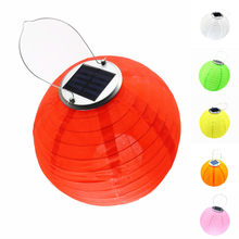 Solar Licht Laterne LED Lampe Ball Solar Lichterkette Wasserdicht Nylon Globus Hochzeit Yard Dekoration Mit Batterie 12 zoll(China)