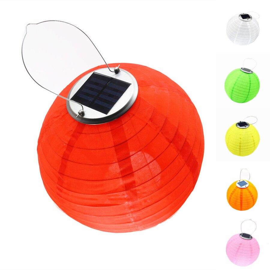 Solar Light Lantern LED Lamp Ball Solar Fairy Lights Waterproof Nylon Globe Wedding Yard Decoration With Battery 12 Inch