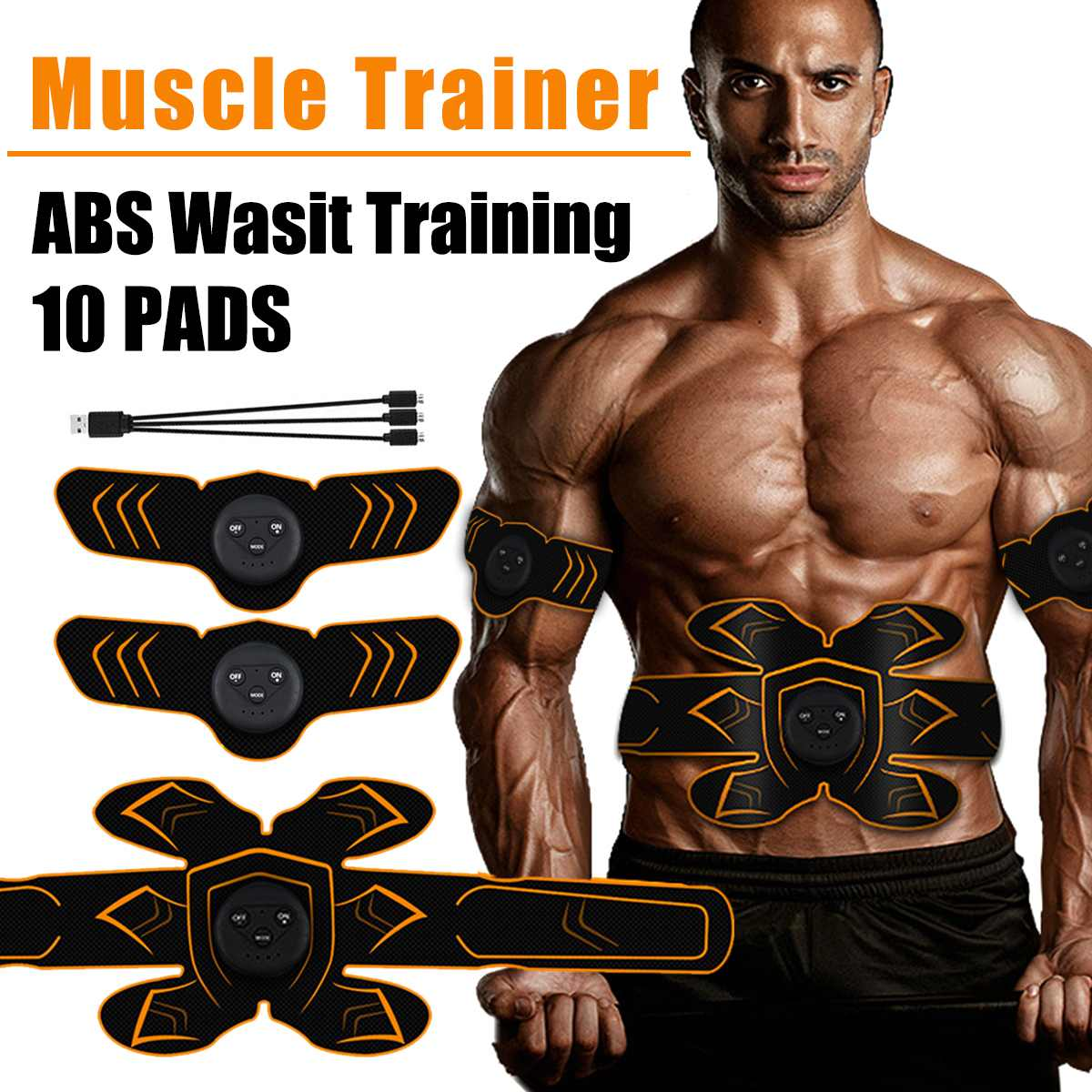 Muscle-Training-Gear Toner-Ems Stimulator Abdominal Body-Exercise ABS USB Rechargeable