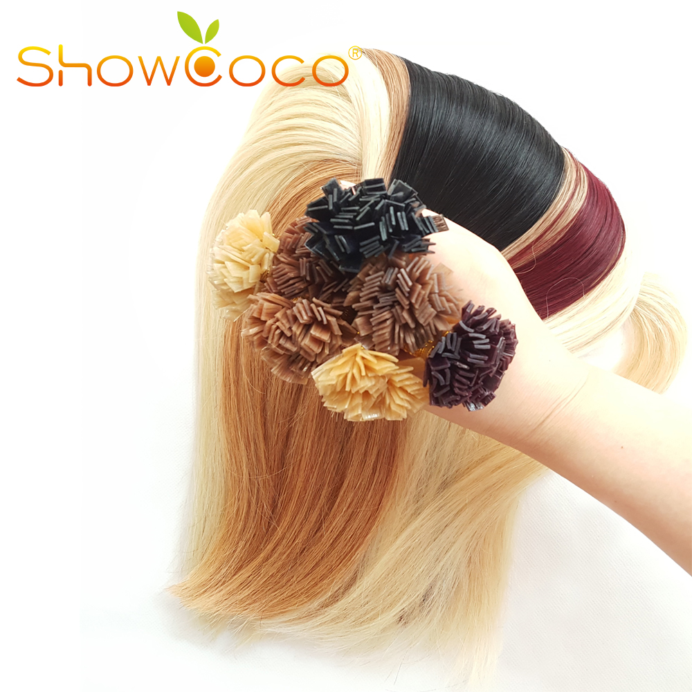 Double Drawn Flat Tip Hair Extensions Remy Human Hair Extensions  Dark Brown Pre Bonded Hair Silky Straight 100g/Pack Showcoco