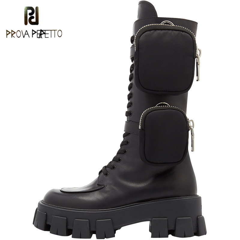 Prova Perfetto 2020 Pocket Motorcycle Boots Women Platform Shoes Lace Up Thick soled Black Military Shoes