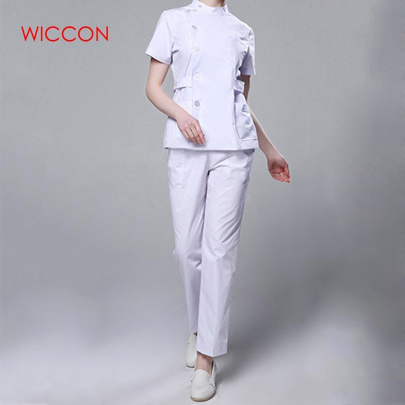 Womens Nurse Medical Clothing Hospital Surgical Suits Scrubs Nursing Uniforms Beauty Salon Female Short Sleeve Coat+Pants