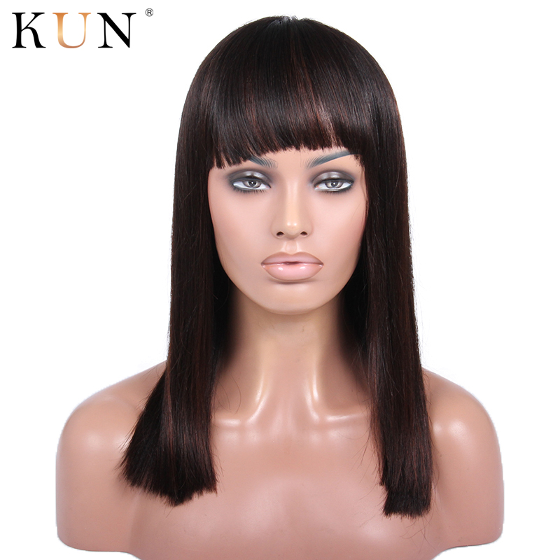 Straight Lace Front Wig With Bang #2 Dark Brown Remy 13x4 Lace Front Human Hair Wigs Brazilian None Lace Wig Pre Plucekd
