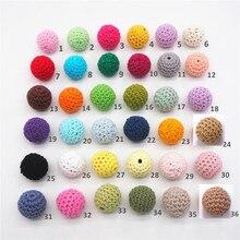 Chengkai 50pcs 20mm Ronde Breien Katoen Gehaakte Houten Kralen Ballen voor DIY decoratie baby bijtring sieraden ketting Speelgoed