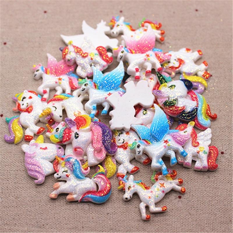 10pcs Mix Patterns Glitter Rainbow Resin Unicorn Cartoon Miniature Art Supply Home Decoration Charm Craft,about 3cm