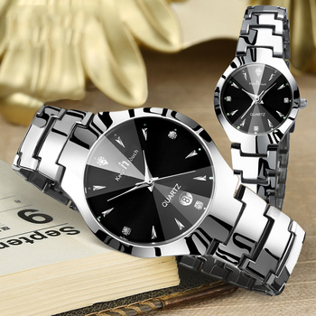 Montre Couple Watch Luxury Stainless Steel Waterproof Pair Watch Lovers Date Quartz Wrist Watch For Couples Gifts Drop Shipping цена 2017