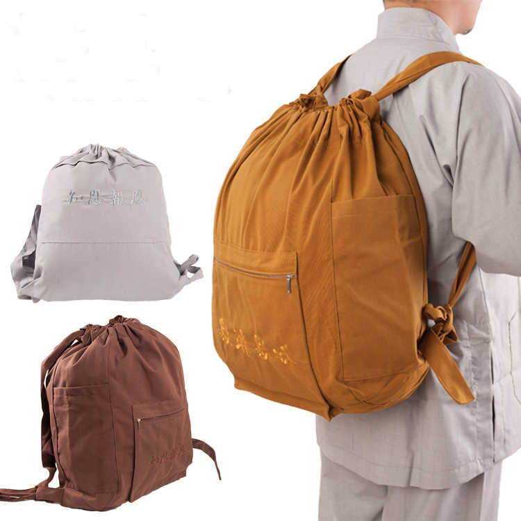 top quality canvas Buddhist bags shaolin monks kung fu Buddha monk package prayer bag zen arhat backpack lay meditation bag