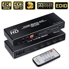 HDMI Matrix 4x2 hdmi Audio Extractor 4K@30Hz hdmi Splitter with SPDIF and L/R 3.5mm HDMI 1.4b Switch Support HDCP 2.2 3D hdmi matrix switch steyr 4k 6x2 hdmi matrix switch splitter with remote control arc spdif optical audio extractor switch