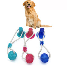 Bite Dog Pet Toys Multifunction Pet Molar Rubber Chew Ball Cleaning Teeth Safe Elasticity Soft Puppy Suction Cup Dog Biting Toy(China)