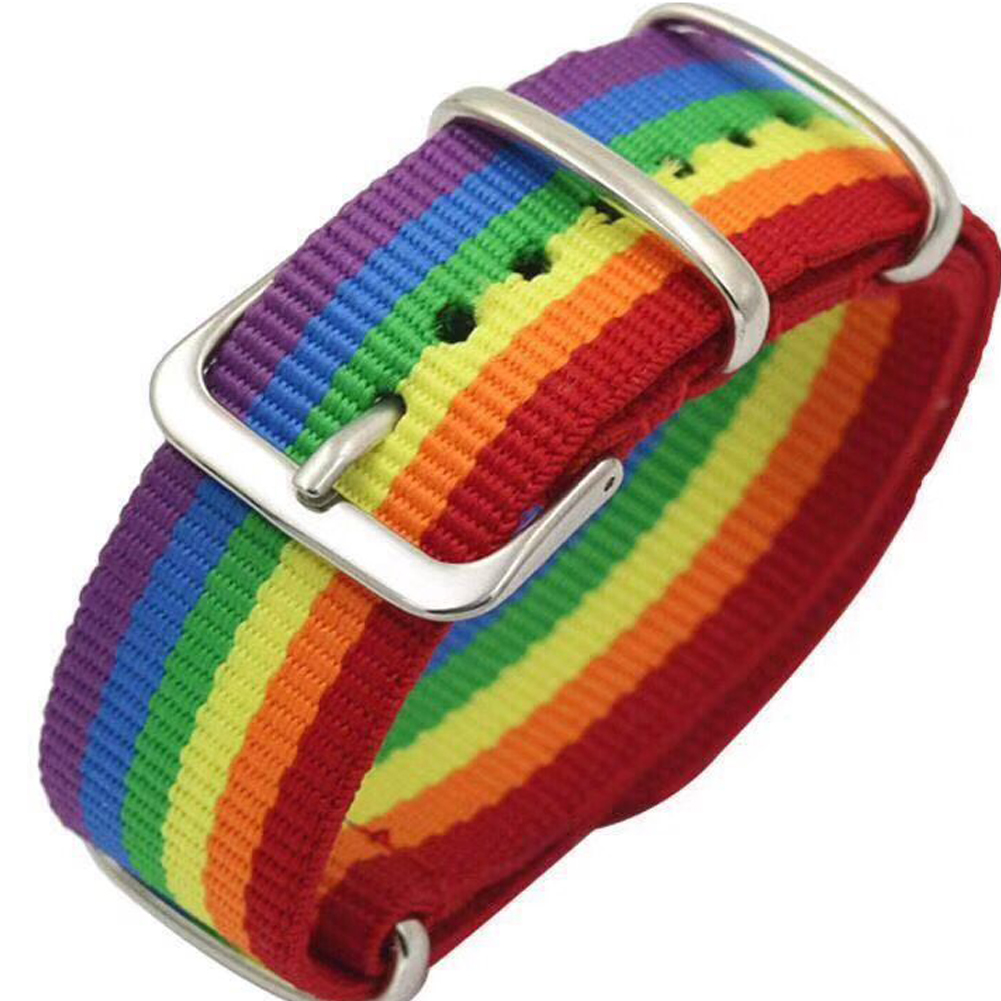 Rainbow Hot Watch Band Nylon Rainbow Bracelet Couple Fashion Men Women Couple Friendship Ribbon Collar Punk Jewelry Party Gift