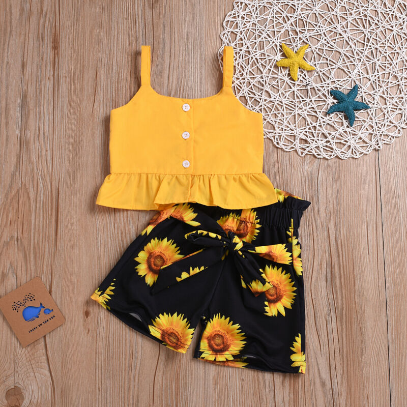 2019 Toddler Sunflower Print Suits For Baby Girl Clothes Set Kid Girls Sleeveless Crop Tops T-shirt Floral Shorts Bow Outfits