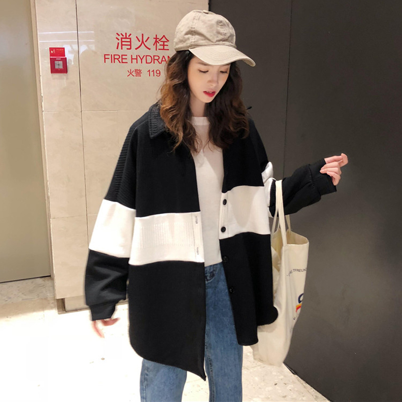 2 Colors Mihoshop Ulzzang Korean Korea Women Fashion Clothing Lapel White Black Stripe Casual   Basic     Jackets   Coat
