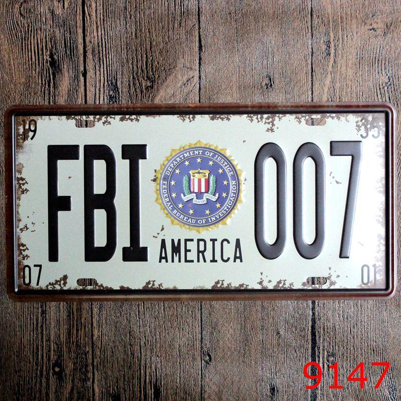 Ретро номерной знак США ФБР 007 Америка оловянные знаки плакат на стену для дома и бара Decor 15x30 см