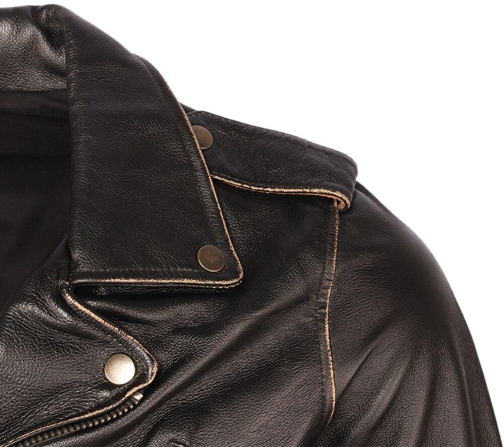Vintage Motorcycle Jacket Men Leather Jackets Thick 100% Cowhide Genuine Leather Coat Winter Biker Jacket Moto Clothing M456