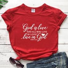 Camiseta de manga curta unissex religião tshirt feminino católico cristão topos camisetas deus é amor e todos os que vivem no amor