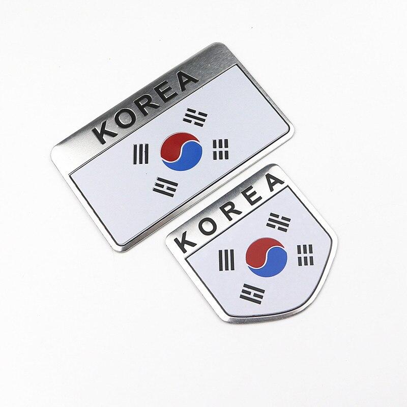 2PCS Car Styling 3D COREA Bandiera del Distintivo Dell'emblema Dell'automobile Decalcomanie Accessori Per Kia Rio Hyundai Ssangyong Daewoo Renault