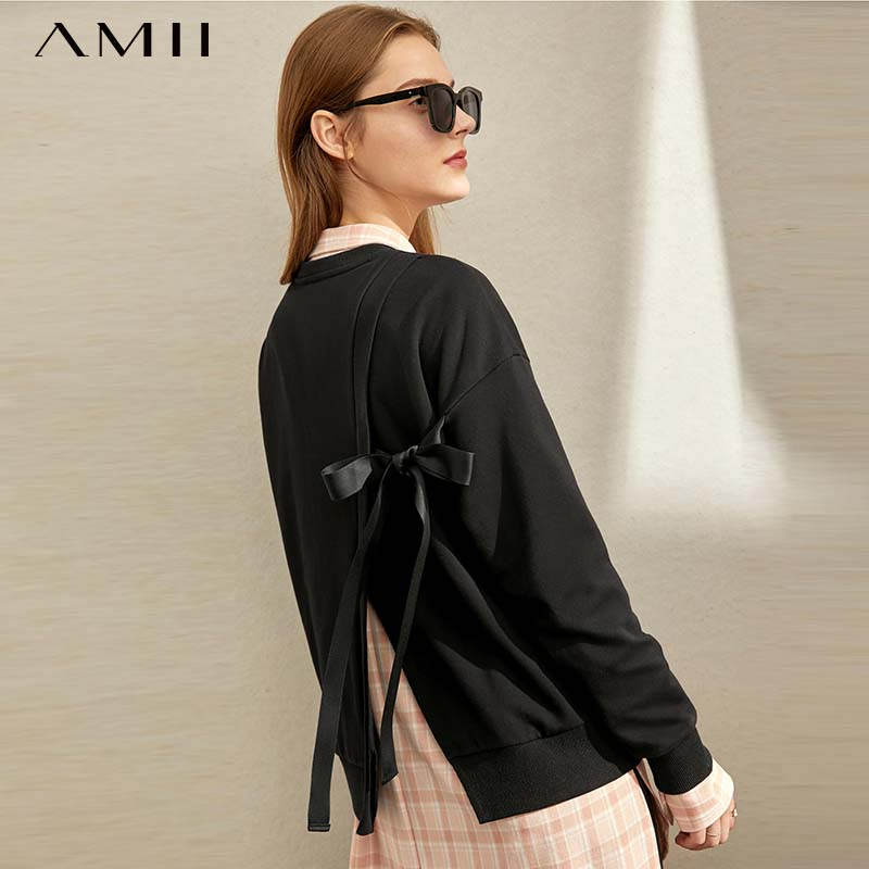 Amii Winter Women Korean Solid Pullover Sweater Female Casual Loose Round Neck Long Sleeve Sweater Tops 11970491