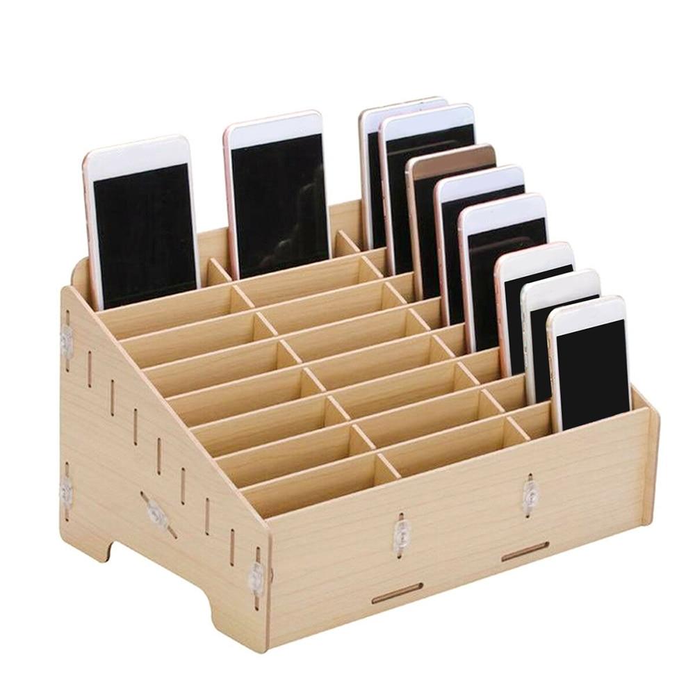 24 Grid Mobile Phone Holder Multifunctional Wooden Storage Box Organizer Handmade Phone Holder Jewelry Case Home Storage Box