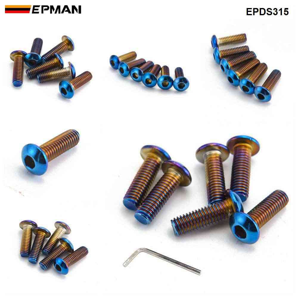Epman 6 Pcs 탄된 티타늄 (Neochrome) 스테인레스 스티어링 휠 볼트 나사 스티어링 휠 볼트 나사 m5 x 20mm EPDS314 EPDS315