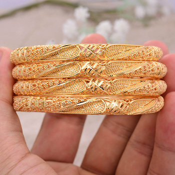 Pulseras de Color dorado de África para mujer, brazaletes de Color dorado...