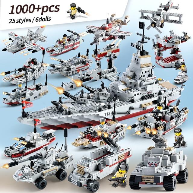 1000 PCS Tank Helicopter Navy Aircraft Army Military Warship Figures Building Blocks Boy Toys Figures Educational LegoED Bricks