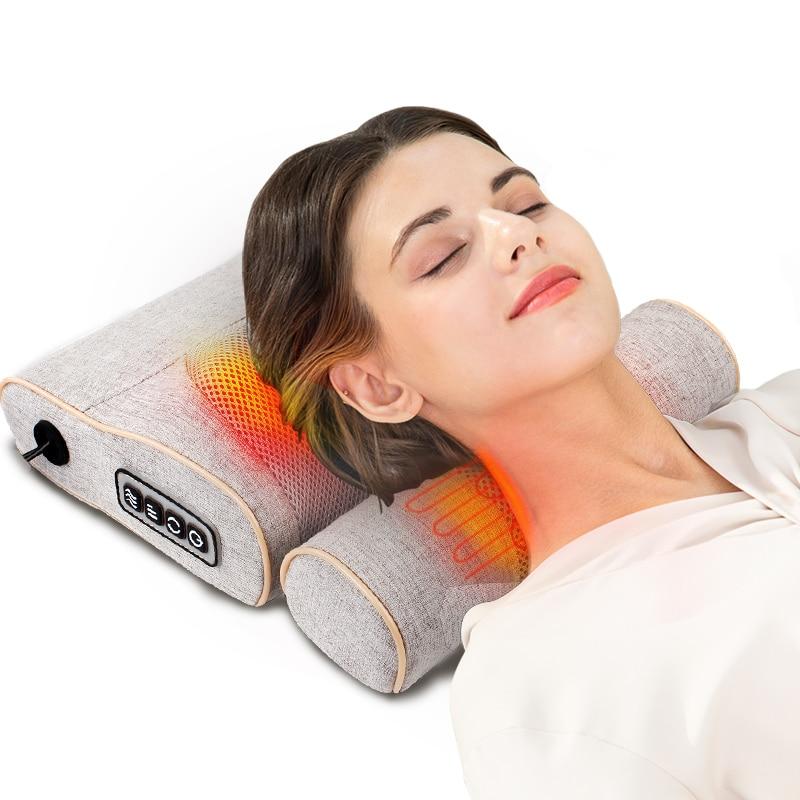MZ 2 in 1 Electric Neck Massager Shiatsu Knead Back Cervical Massageador Car Home Dual Use Heating Massage Pillow Cushion