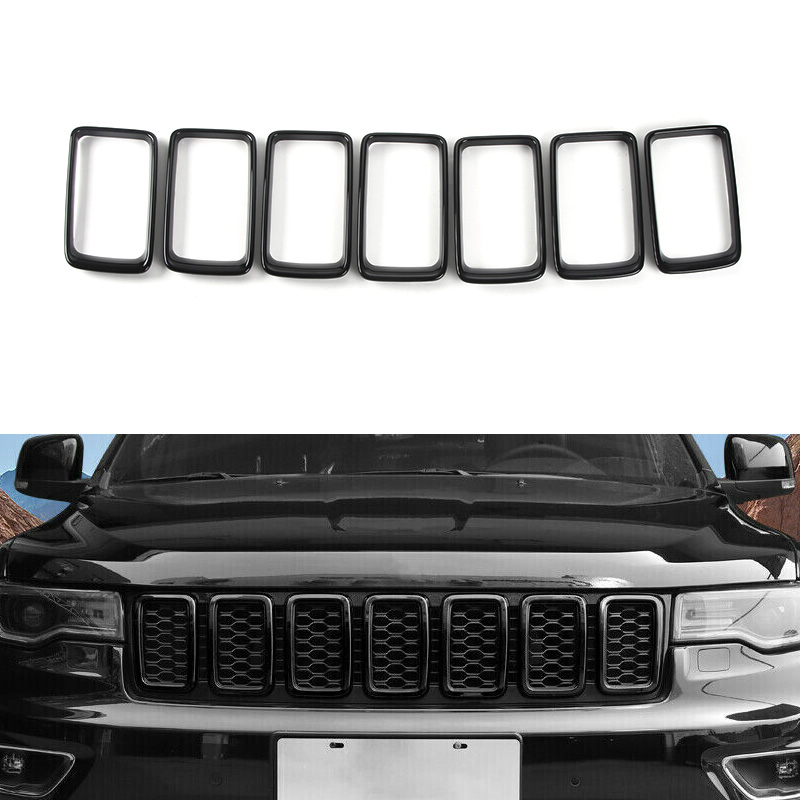 Black Front Grille Rings Grill Inserts Cover For 2017-2019 Jeep Grand Cherokee Black Grill Frame Trim Kit 7pcs