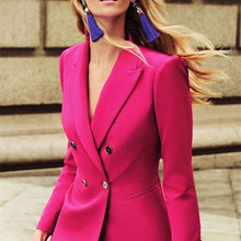 Fuchsia Women Set Ladies Pant Suits Jacket+Pants Women Business Suits