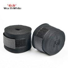 WorthWhile-par de vendas de algodón para Kick Boxing, para hombres, Sanda, Taekwondo, boxeo y Muay Thai, equipo de correas para muñeca MMA