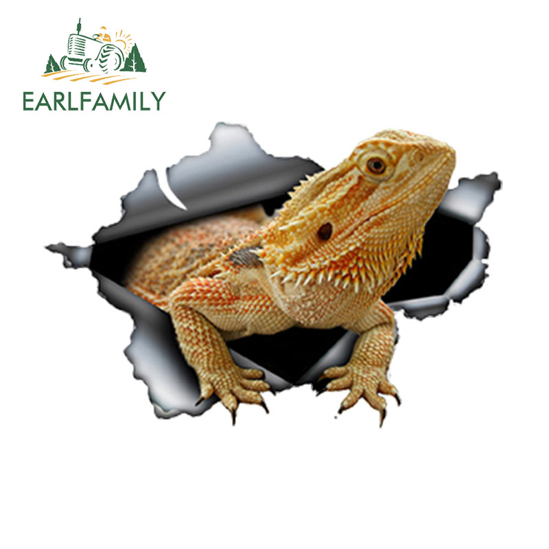 EARLFAMILY 13cm X 8.7cm Bearded Dragon Car Sticker Torn Metal Decal Reflective Stickers Waterproof Animal Car Styling Pet Decals