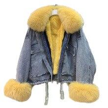 Veste en Denim pour femmes, vestes chaudes et coupe vent avec col en fourrure naturelle de renard, véritable lapin et véritable lapin