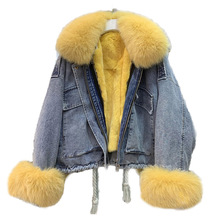 Womens Denim Jacket With Fur Natural Fox Fur Collar Cuff Real Rex Rabbit Fur Lining Winter Female Warm Jackets Bomber Windbreak